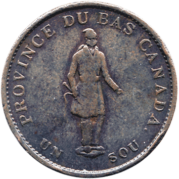 1/2 Пенні (Penny) / 1 Су (Sou) - 1837 - Нижня Канада (Lower Canada)